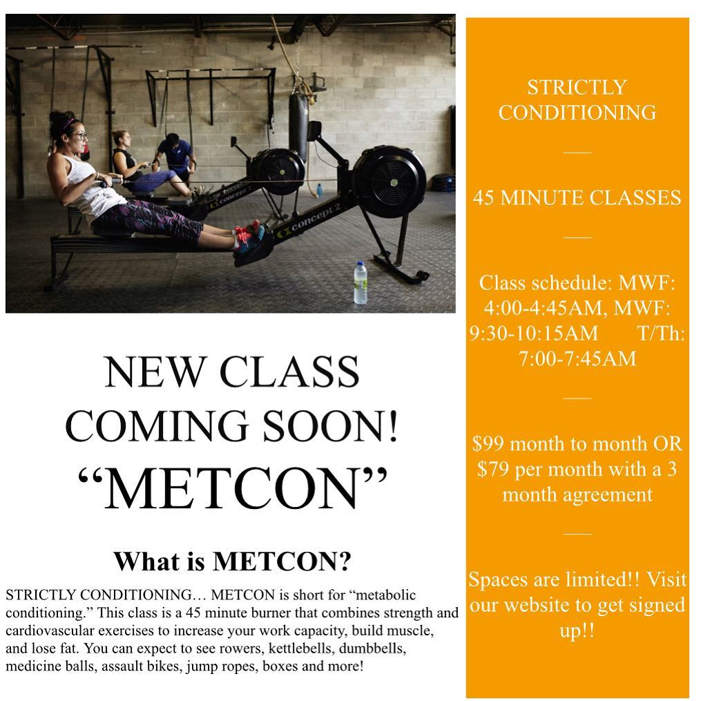 METCON CLASS STARTS FEB. 19th!! This class is strictly conditioning. If you need to increase your stamina, this 45 minute burner class will certainly do the trick! Current members can join this class at no cost, those looking for just the METCON class can choose between a month to month option, a 3 month agreement, or a class package! DM for further details regarding this class