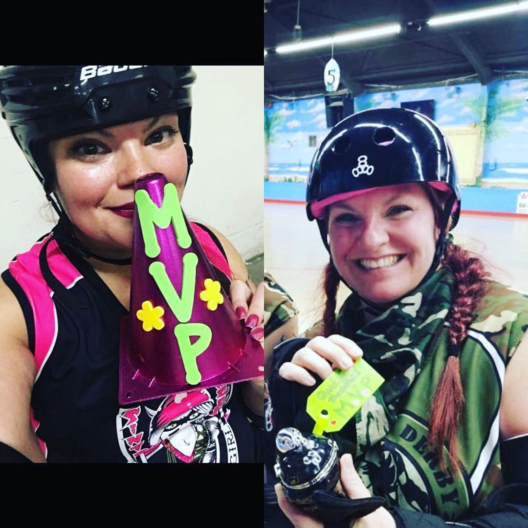 Two of @hidden_alley_crossfit's finest @sidney138 and @jessacas have been awarded MVP's the past two weeks in roller derby! Keep kickin A$$ ladies