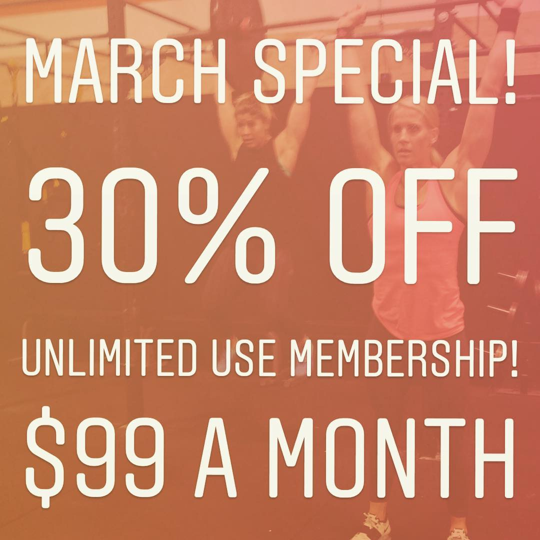 Grab it while it lasts! March special 30% off membership! $99 a month for unlimited CrossFit and Metcon classes!! Don't miss out! Sale ends in March