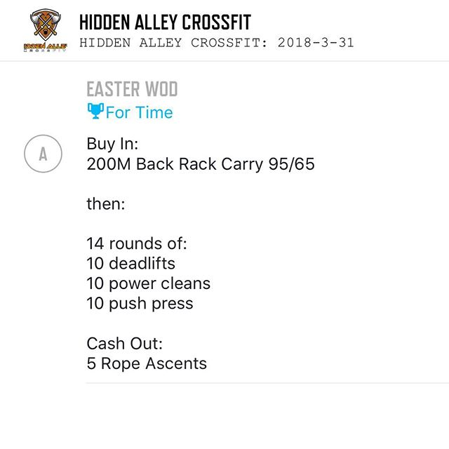 EASTER WOD tomorrow at 9:00am!! Bring the family, bring a friend, and suffer with us for an hour