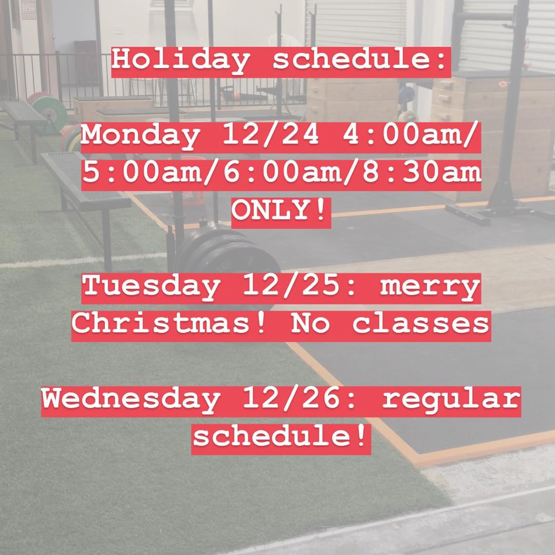 HOLIDAY SCHEDULE! Mindbody is updated so if you forget, check mindbody and make sure to sign up for class