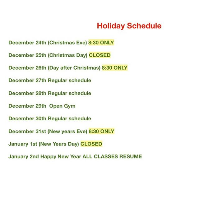Holiday Schedule is up will be updated on MINDBODY soon