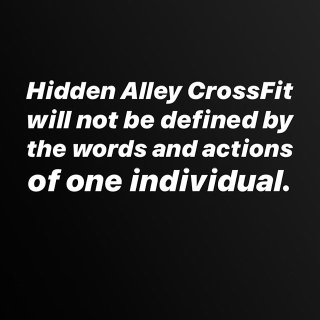 Beyond frustrated and embarrassed of CrossFit's cofounder's words. Let us assure you: we do NOT stand by him.  We will NOT be defined by his actions.