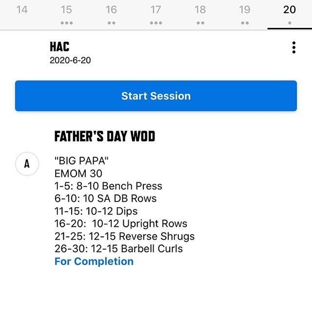 "Fathers Day Bro sesh ""Big Papa"" is gonna hit different. Come out tomorrow for our Saturday WOD and leave with a nice pump for the weekend"